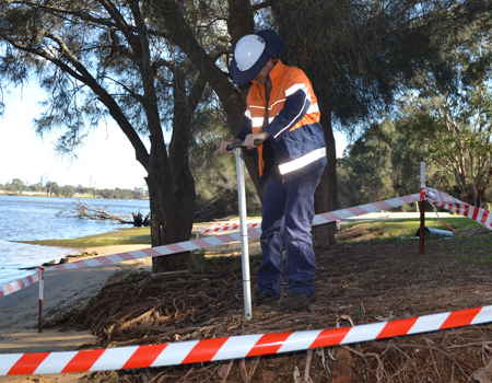 Acid Sulphate Soil Sampling on banks of Swan River, with Hand Auger